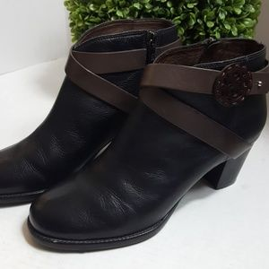 Brighton black heeled leather strap ankle boot